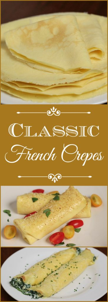 Classic French Crepes made with only 3 ingredients, quick and easy. This versatile recipe can be made sweet or savory.
