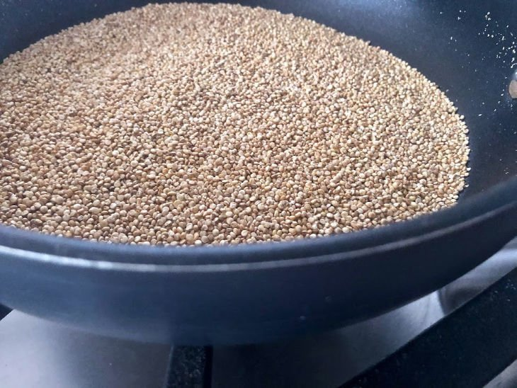 Quinoa Roasting in a Pan