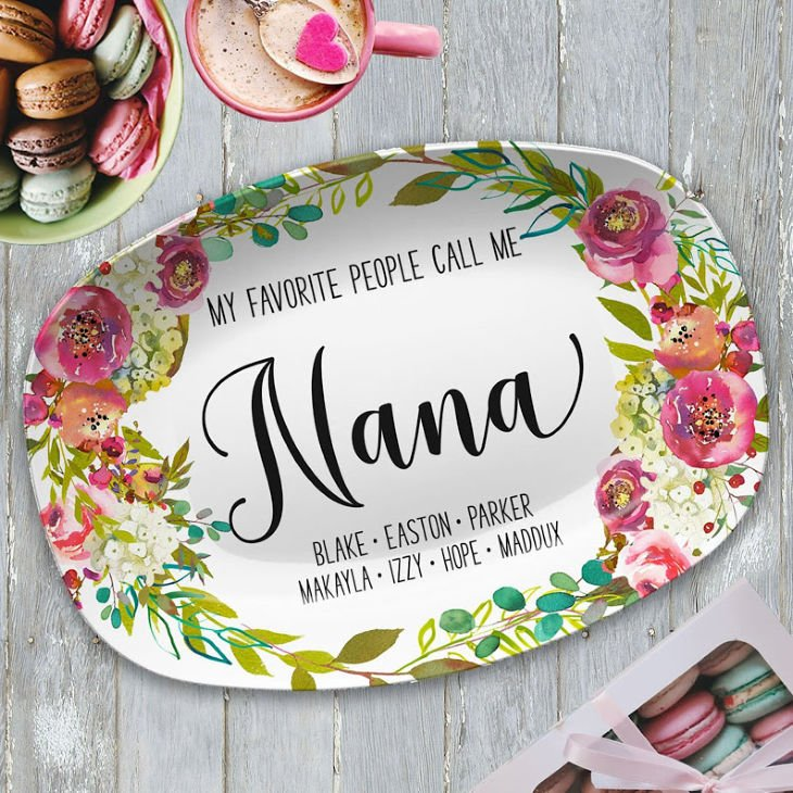 My Favorite People Floral Personalized Platter